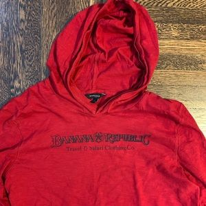 Banana Republic Long Sleeve Hooded T -Shirt! Red!